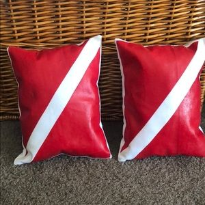 Other - Set of 2 Red & white Diver Flag throw pillows